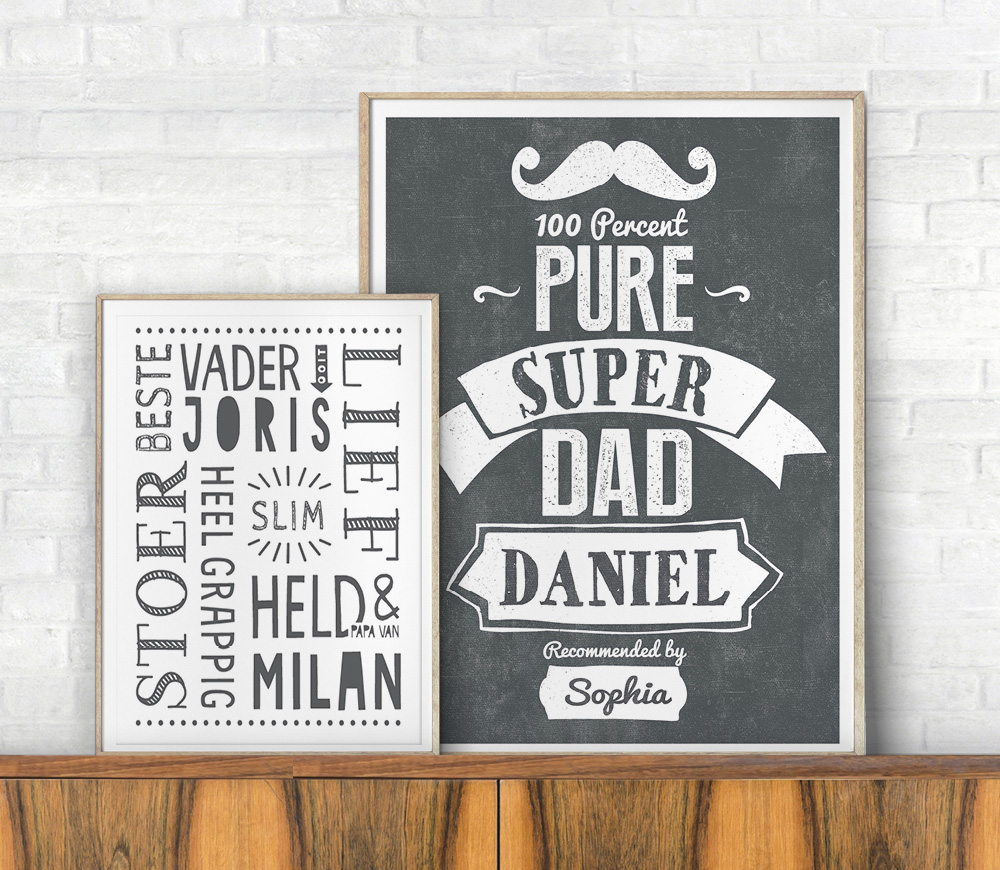 Posters voor papa, gepersonaiseerd met naam van Printcandy