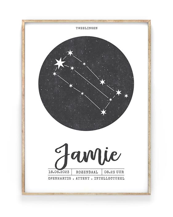 Monochrome Geboorteposter Sterrenbeeld met sterrenhemel in cirkel - zwart wit