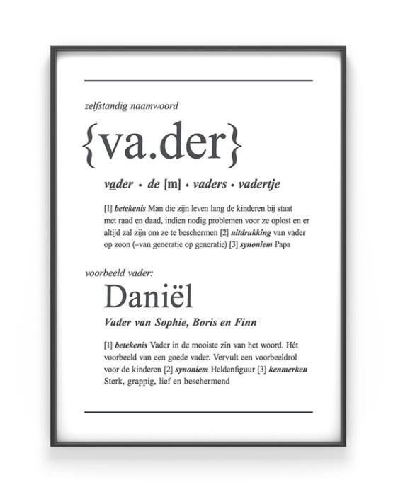 Woordenboek Poster Vader voor papa   Printcandy