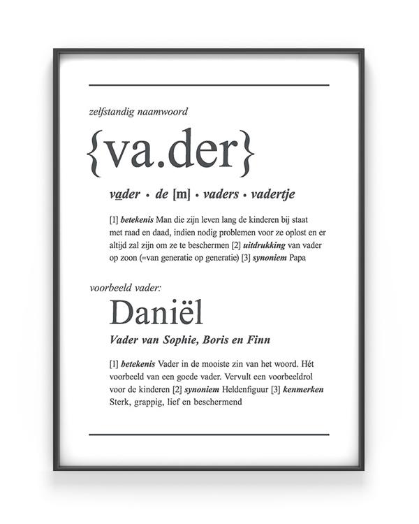 Woordenboek Poster Vader voor papa