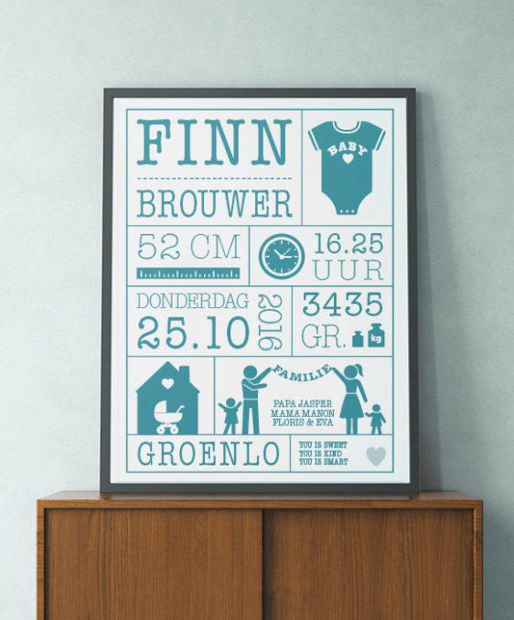 Zelf Geboorteposter maken - Gepersonliseerde poster online ontwerpen - Printcandy