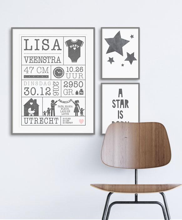 Zelf Geboorteposter maken online met de poster-editor - monochrome zwart wit baby posters - Printcandy