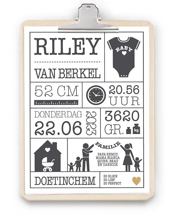 Geboorteposter met klembord hout - Hip kraamcadeau met naam