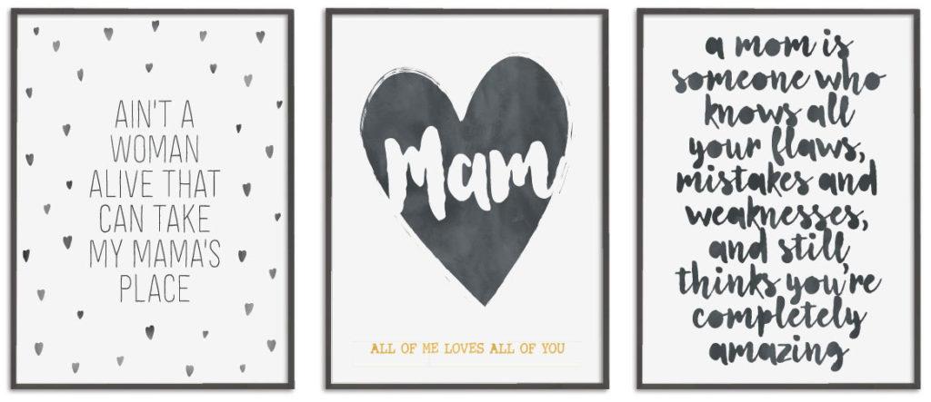 Zwart-wit Posters met woorden en teksten voor Mama