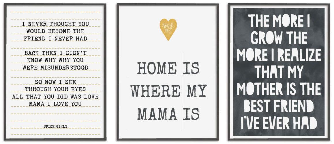 Quote en Citaat Posters met lieve teksten voor Mama in zwart-wit