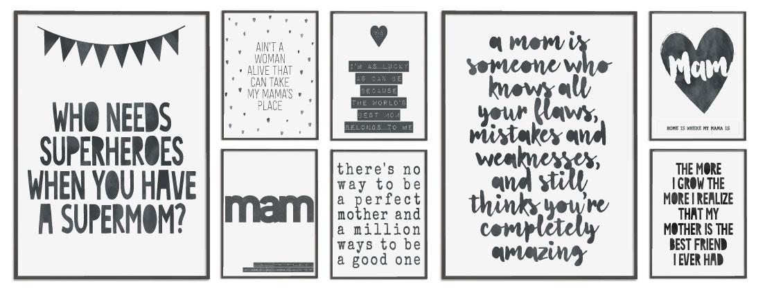Zwart-wit Posters met woorden en lieve teksten voor Mama