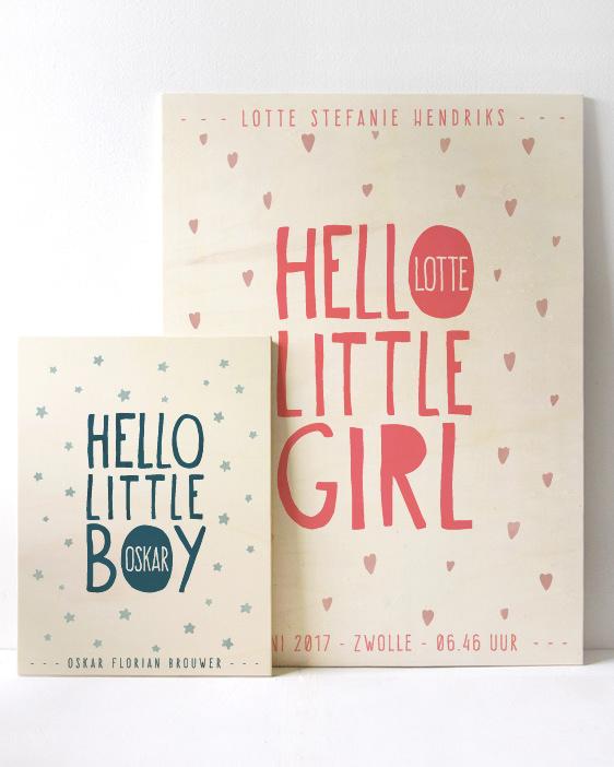 Little One Geboorteposter op Hout | Houten geboortebord | Printcandy