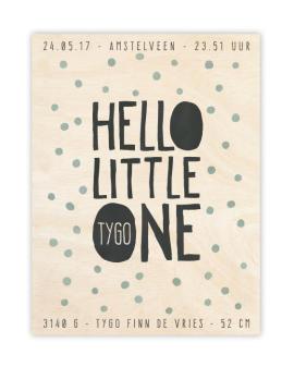 Little One Geboorteposter op Hout - Houten geboortebord met naam
