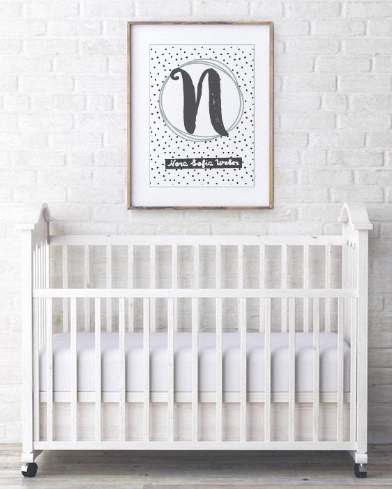 Naam Poster - Babykamer - Zwart wit met Mint groen