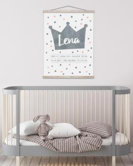 Geboorteposter Prinses Monochroom kinderkamer | Printcandy