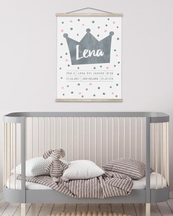 Geboorteposter Prinses Monochroom kinderkamer - Printcandy