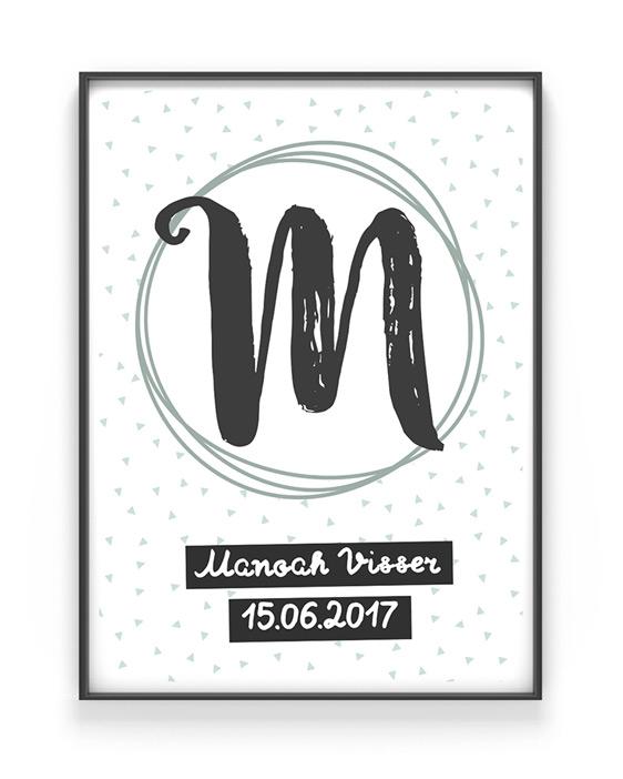Naam Poster - met letter - Zwart wit met Mint groen