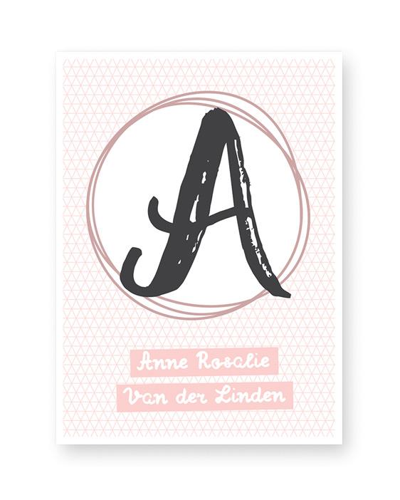 Naam Poster - met letter - Zwart wit met Pastel Roze