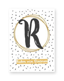 Naam Poster - met letter - Zwart wit met Geel