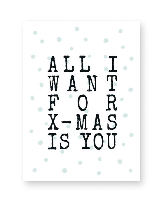 Kerst Tekst Poster in zwart wit of met kleur accent - oa goud, koper of mint