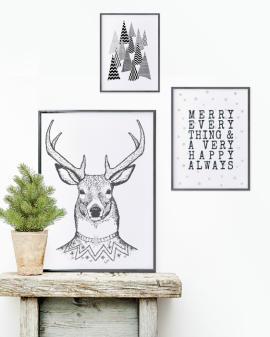 Kerst Poster | Zwart wit | Tekst | Hert