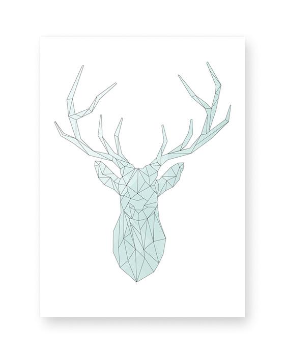 Kerst Poster Abstract Hert - Kleuren zelf online customizen bij Printcandy