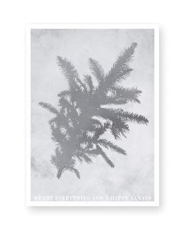 Monochrome Kerst Poster in Botanische stijl met dennetak