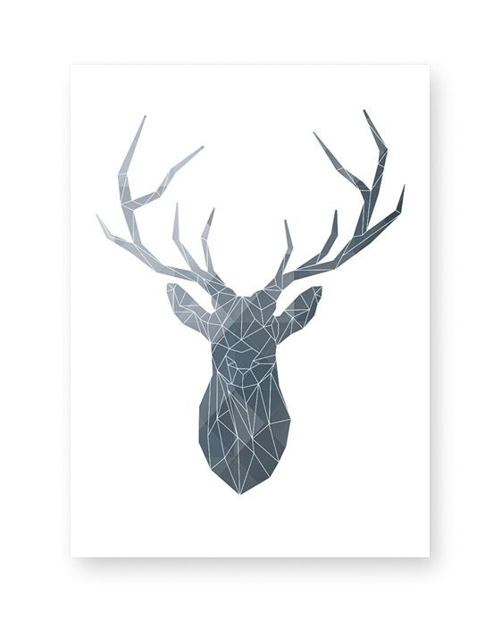 Kerst Poster in zwart wit met Abstract Hert - Kleuren zelf online customizen bij Printcandy