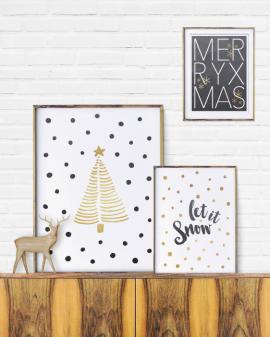 Posters voor Kerst in Zwart Wit en Goud - Printcandy