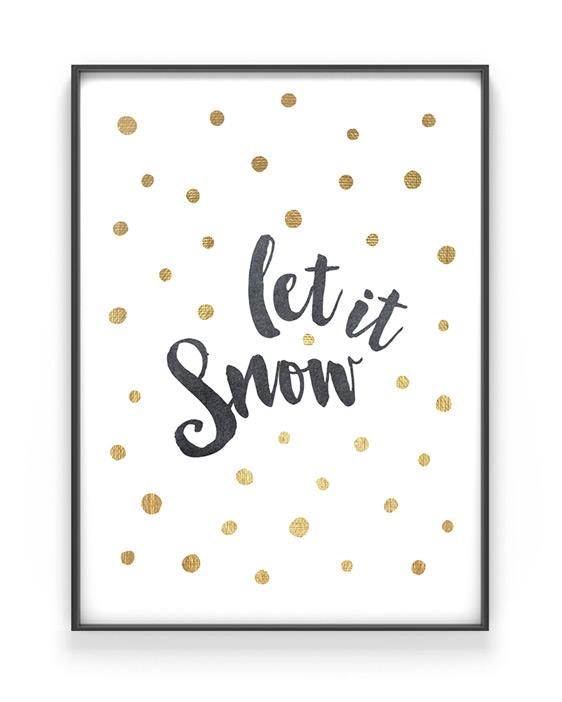 Kerst tekst poster Let it Snow - Printcandy