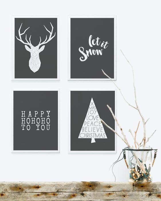 Zwart Wit Kerst Posters maken bij Printcandy