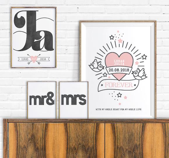 Liefde Poster en Trouwposters met retro hart, JA woord en Mr Mrs | zwart wit roze