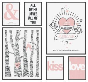 Liefde poster voor Valentijnsdag in zwart wit met roze