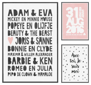 Valentijnsposter met namen in zwart-wit met roze