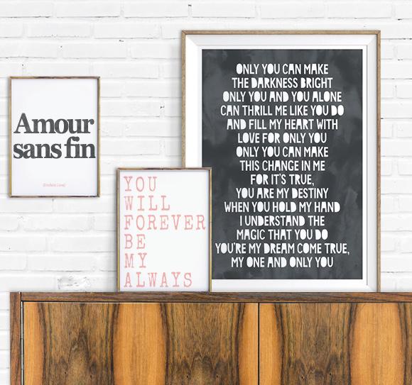 Liefde Tekst-posters zwart wit met roze