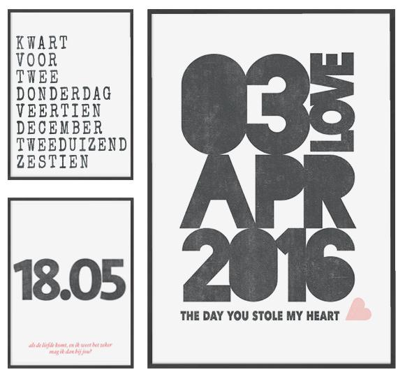 Gepersonaliseerde Liefde Poster met datum, naam, en locatie