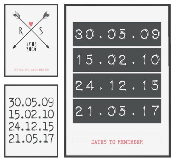 gepersonaliseerde datum posters - zwart wit met roze