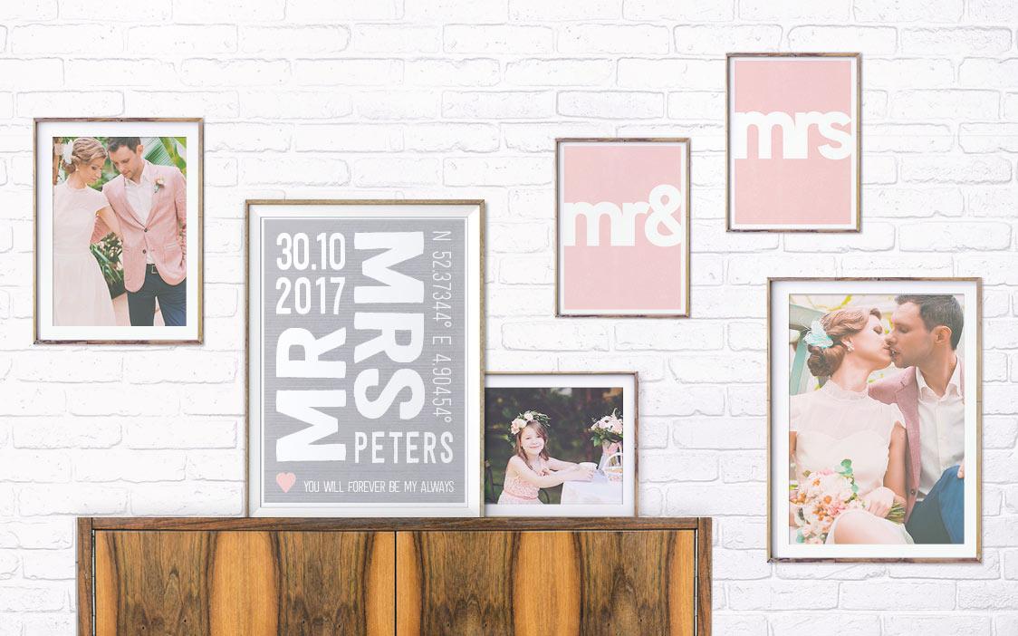 muurcollage fotoos huwelijk met trouwposter - roze