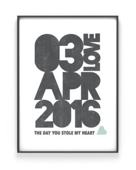 Datum Poster - Special Date Poster met namen, coördinaten of je eigen tekst