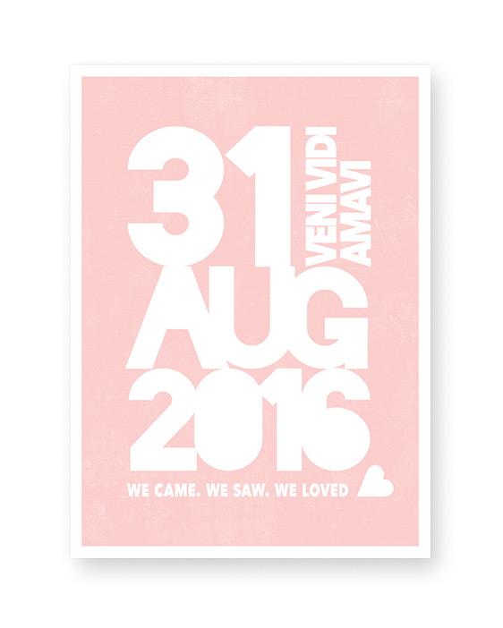 Trouwdatum Poster met coördinaten en namen