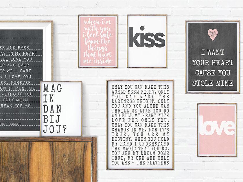 Poster met liefdes tekst