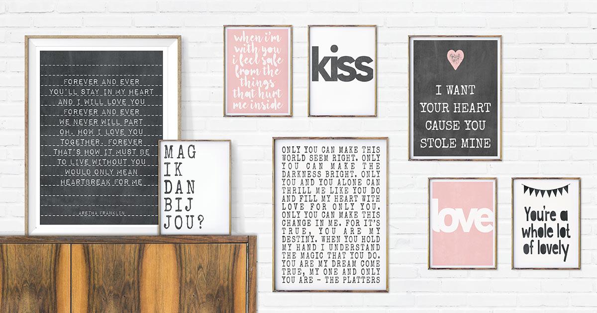 Poster met liefdes tekst - Personaliseerbaar Valentijnscadeautje voor hem en haar