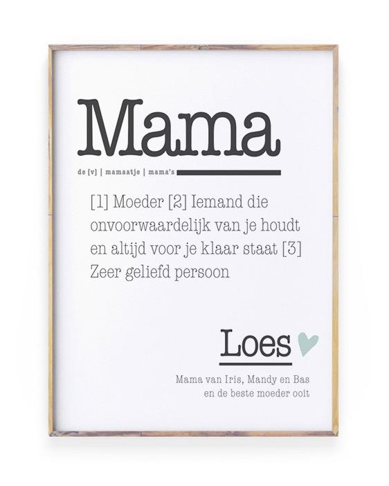 Poster woordenboek Mama gepersonliseerd met naam