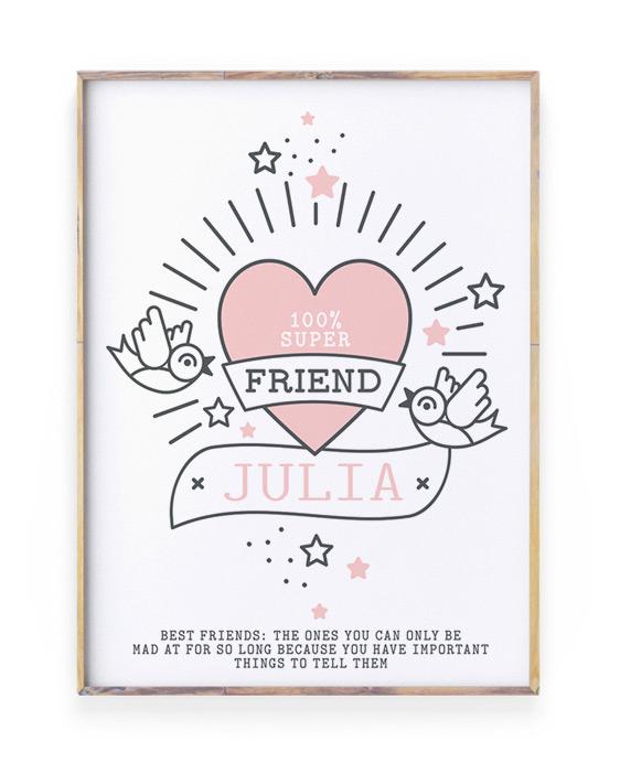 Poster voor vriend of vriendin met naam en eigen tekst