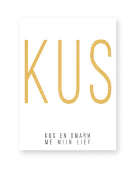 Poster met eigen woord maken in zwart wit of met kleur, bijv geel