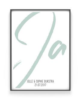 Poster met eigen woord maken - Trouwposter met groot JA