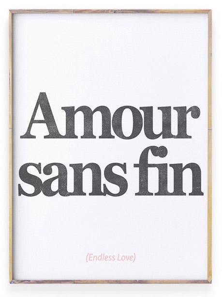 zwart wit Poster met liefdes tekst 'Amour' | Personaliseerbaar
