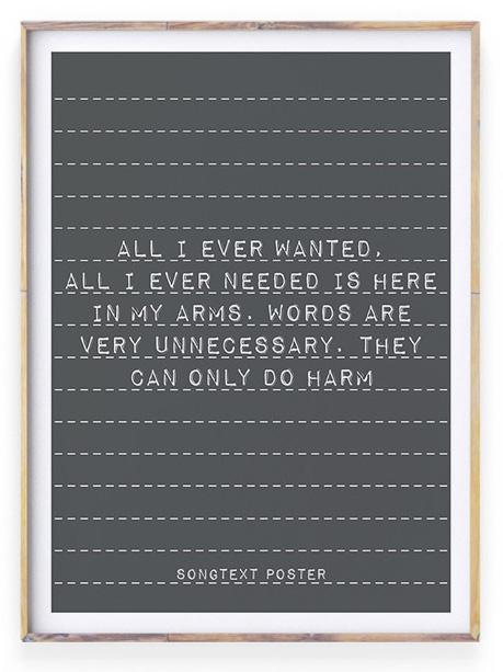 Poster met liefdes tekst | Songtext Poster | Personaliseerbaar
