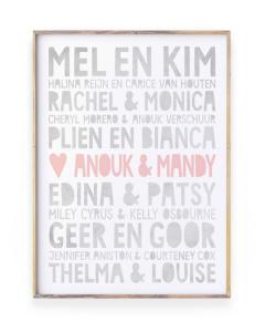 famous Friends Poster met naam voor vriendin