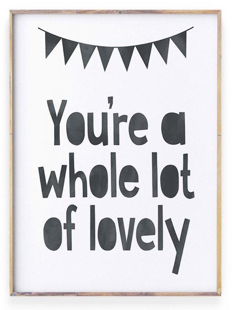 zwart wit Poster met liefdes quote | Lot of lovely | Personaliseerbaar