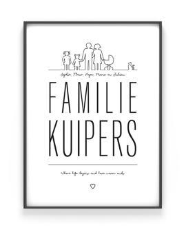 Familie Poster in zwart-wit of met kleur zelf maken bij Printcandy