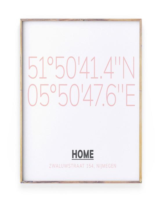 Gepersonaliseerde Poster met Coördinaten - Roze - Printcandy