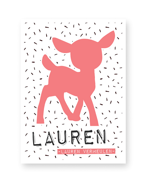 Naamposter Meisje met Hertje | Rood Roze | Printcandy