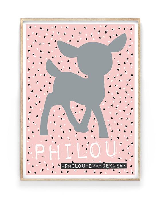 Naamposter Meisje Babykamer | Roze met Grijs | Printcandy