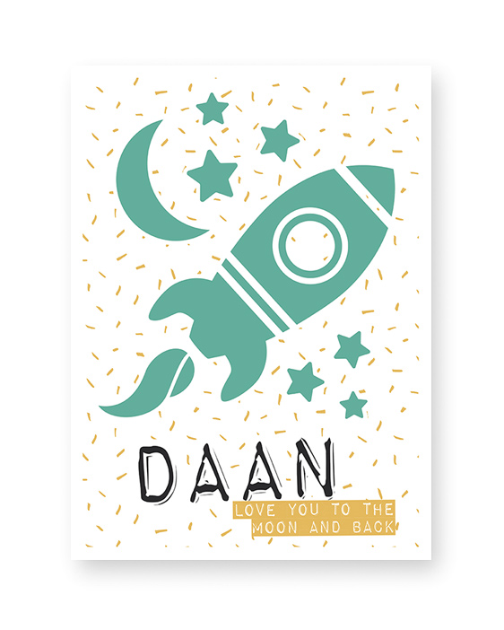 Kinderkamer Naamposters Jongen | To the moon and back | Printcandy